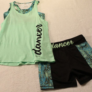 "Justice ""Dancer"" tank/bra sz12 and bike short set"